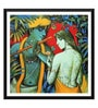 Paper 18 x 0.5 x 18 Inch Enchanting Krishna with Radha Playing Flute Painting Framed Digital Poster by Tallenge
