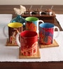 Tangerine Desi Beat Porcelain 250 ML Mugs - Set of 4