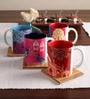 Tangerine Desi Beat Porcelain 250 ML Mugs - Set of 4