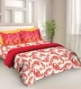 Tangerine Fete Red Cotton Double Bed Sheet Set (with Pillow Covers)