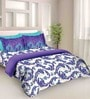 Tangerine Fete Purple Cotton Double Bed Sheet Set (With Pillow Covers)