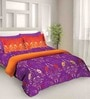 Tangerine Fete Purple Cotton Double Bedsheet Set (with Pillow Covers)
