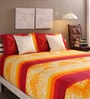 Tangerine Maroon & Yellow Cotton Queen Size Bed Sheet - Set of 3