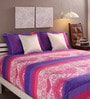 Tangerine Purple & Pink Cotton Queen Size Bed Sheet - Set of 3