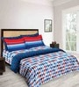 Tangy Orange Blue Cotton 3-piece Double Bed Sheet Set by Tangerine