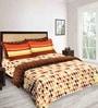 Tangerine Tangy Orange Brown Cotton 3-piece Double Comforter Set