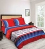 Tangerine Tangy Orange Red Cotton Double Bed Sheet Set (with Pillow Covers)