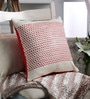 Tasar Red & Natural Silk 16 x 16 Inch Dobby Red Cushion Cover