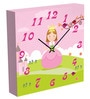 Princess In Pink Square Wall Clock by MimaArt