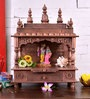 Solid Wood Hand Made Pooja Mandir in Brown Finish by ShriNath