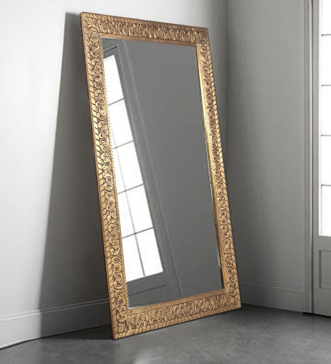 Buy Teak Wood Frame Rectangular Full Length Mirror In Gold Finish By Vriksh Of Life Online Eclectic Mirrors Eclectic Mirrors Test Pepperfry Product
