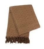 Brown Cotton Geometric Throw