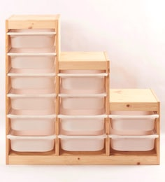 Tezerac Maples Solid Wood Brown 12 Storage Boxes With Frame - Set Of 13