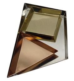 Tezerac Rogbolle Decorative Metal Multicolour Trays - Set Of 3