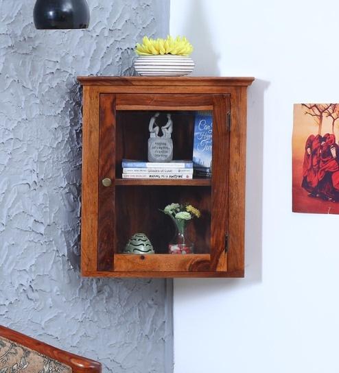 Teak Finish Sheesham Wood Corner Wall Shelf By Satyam International