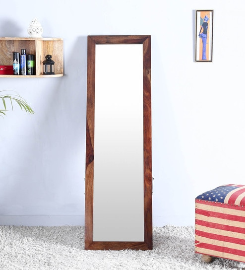 Buy Solid Wood Full Length Mirror In Teak Finish By Satyam