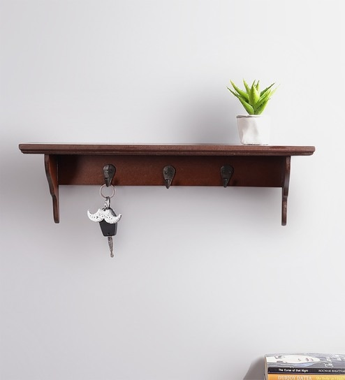 best sneakers a7edd 5aa74 Teak Wood & MDF Floating Shelf with Key Holder by Craft Tree
