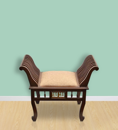 Buy Settees Online: Buy Teak Wood Maharaja Settee In Walnut Finish By