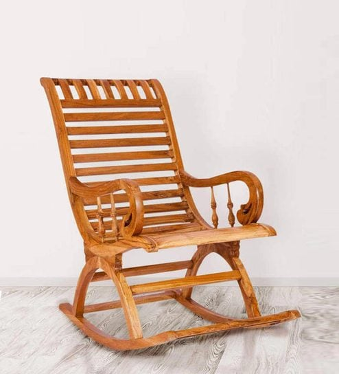 Incredible Teak Wood Rocking Chair In Light Teak Finish By Karigar Frankydiablos Diy Chair Ideas Frankydiabloscom