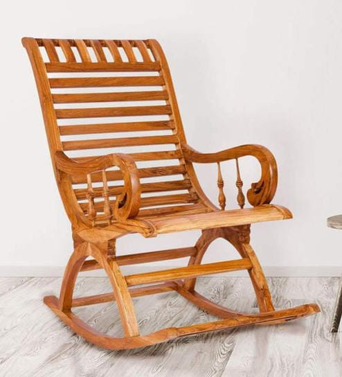 Beau Teak Wood Rocking Chair In Light Teak Finish By Karigar