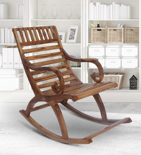 Buy Teak Wood Rocking Chair In Natural Finish By Furniease Online