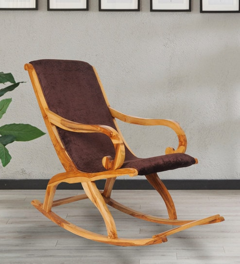 Sensational Teakwood Rocking Chair In Natural Finish With Brown Cushion By Confortofurnishing Inzonedesignstudio Interior Chair Design Inzonedesignstudiocom
