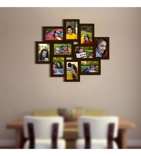 snap galaxy brown synthetic wood ten photo frame collage