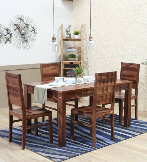 Buy Tesseract Solid Wood Four Seater Dining Set In Warm Walnut Finish By Woodsworth Online