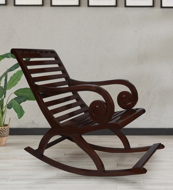 Buy Starsky Teakwood Rocking Chair In Brown Finish By Confortofurnishing Online Wooden Rocking Chairs Chairs Furniture Pepperfry Product