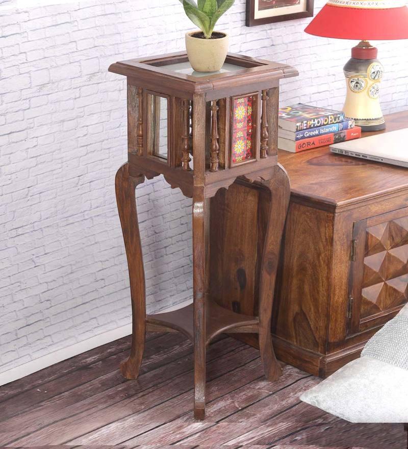 Teak Wood Tiled Table in Walnut Finish by VarEesha