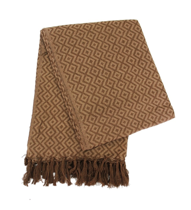 Brown Cotton Geometric Throw by Tezerac