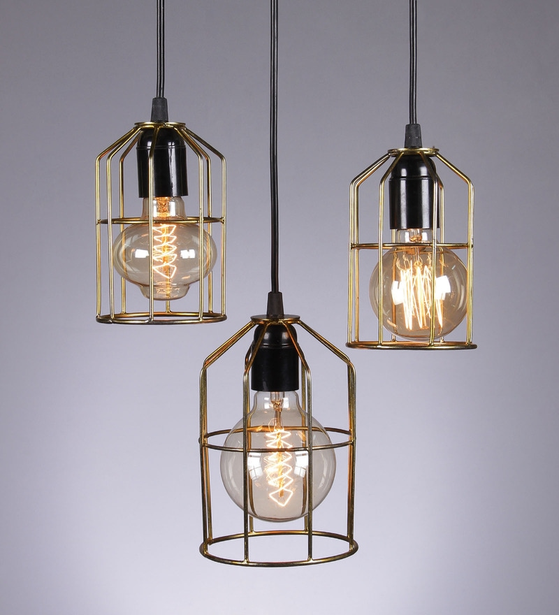 Cage Cluster Gold 25W Pendant Light - Set of 3 by Tezerac