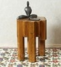 Teak Wood End Table in Honeycomb Design by INDOORS