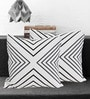 Tezerac Grey & Black Oslo Cotton 16 x 16 Inch Cushion Cover
