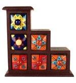 Ceramic & Wood Multicolour Multi Purpose Jewellery Box