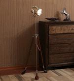 Kapoor E Illuminations Wooden & Brass Tripod Lamp