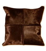 Brown Natural Hide 18 x 18 Inch Oxford Cushion Cover with Insert