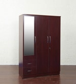 Three Door Wardrobe in Red Cherry Finish