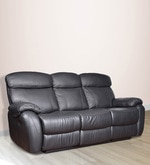 Three Seater Half Leather Manual Recliner Sofa in Black Colour