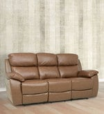 Three Seater Motorized Half Leather Recliner in Cappuccino Colour