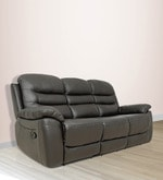 Three Seater Motorized Recliner Sofa in Half Leather Dark Brown Colour