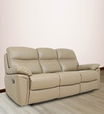 Three Seater Sofa with 2 Manual Recliners in Taupe Colour Half Leather