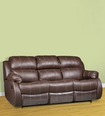 Three Seater Sofa with 2 Manual Recliners & Collapsible Tray in Brown Colour
