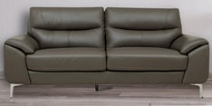 Three Seater Half Leather Sofa in Grey Colour