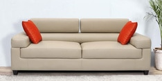Carelino Three Seater Sofa with Headrest in Cream Colour