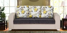 Three Seater Sofa with Floral Backrest in Beige & Black Colour