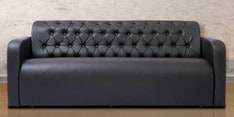 Three Seater Sofa with Tufted Back & Arm Rest in Black Colour