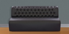 Three Seater Sofa with Tufted Back in Black Colour