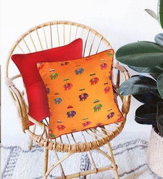 The Elephant Company Multicolour Cotton 16 X 16 Inch Orange Flying Elephants Cushion Cover