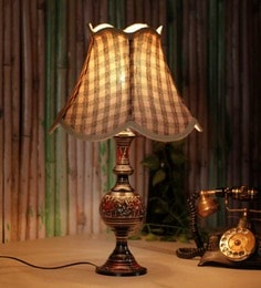 The Light House Check Brass Carving Table Lamp